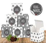 Anstore 24 weihnachtliche Adventswürfel mit 24 Zahlenaufklebern für einen DIY Adventskalender zum Basteln und Befüllen, 24 Schachteln