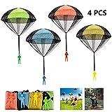 FUNVCE Fallschirm Spielzeug Kinder, 4 Stück Fallschirmspringer Hand werfen Fallschirm Outdoor Flugspielzeug Geschenk für Kinder, Wurf Parachute Spiele für Draußen