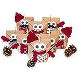 Pajoma Adventskalender Zum Befüllen Weihnachtseule Mit Extras 2018 Bastelset Eule Owl DIY, 24 Beutel Kraftpapier Tüten 14x22cm (Rot mit Extras)