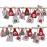 Papierdrachen 24 Adventskalender Stoffsäckchen zum Befüllen - mit Bäkergarn und Klammern - Stoffbeutel zum selber Dekorieren - Geschenksäckchen