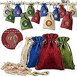 Lzfitpot Adventskalender zum befüllen, Weihnachtskalender zum befüllen, 24 Stoffbeutel mit 1-24 weihnachtlichen Aufklebern und 24 Klammer, Weihnachts-Geschenktüte zum Basteln und Befüllen